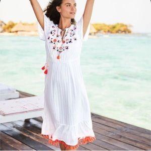 Boden Evelyn fringe crepe midi dress size 10